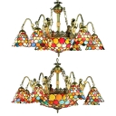 Stained Glass Dome Chandelier with Mermaid Hotel 9/11 Lights Tiffany Style Vintage Chandelier