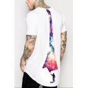 Men's Hot Sale Short Sleeve Round Neck Galaxy Print White Loose Basic T-Shirt