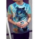 New Stylish 3D Tiger Print Short Sleeve Round Neck Blue Basic T-Shirt For Men