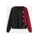 Hot Fashion Colorblock Drawstring Detail Round Neck Long Sleeve Pullover Sweatshirt for Women