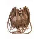 Popular Plain Fringe Drawstring Shoulder Messenger Bag 29*12*24 CM