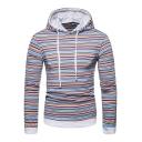 Men's New Trendy Stripe Printed Long Sleeve Drawstring Casual Hoodie For Men