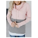 Women's Colorblock Drawstring Hood Long Sleeve Slim Fit Hoodie