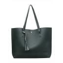 Trendy Solid Color Tassel Embellishment Large PU Shoulder Tote Bag 44*10*31 CM
