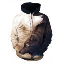 Unique Wolf and Lion 3D Print Contrast Hood Long Sleeve Unisex Hoodie