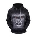 New Stylish Orangutan 3D Print Long Sleeve Black Hoodie with Pocket