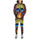 Multicolor 3D Skull Printed Long Sleeve Drawstring Pocket Hoodie