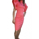 Womens Trendy Solid Color High Neck Ruffled Sleeve Pink Midi Sheath Dress