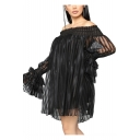 Women's Fashion Off the Shoulder Long Sleeve Plain Mesh Detail Mini Nightclub Tube Dress