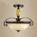 Frosted Glass Dome Semi Ceiling Mount Light Bedroom 3 Lights Antique Style Ceiling Lamp in Rust