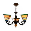 Conical Shade Bedroom Chandelier Stained Glass 3 Lights Tiffany Style Rustic Pendant Light