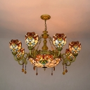 Victorian Style Dome Chandelier Stained Glass 9 Lights Pendant Light for Living Room Villa