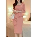 Ladies Pink Plain Square Neck Button 3/4 Sleeve Split Back Midi Slim Fit Work Business Ruffle Pencil Dress