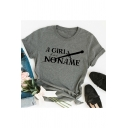 Women's Fashion Letter A GIRL HAS NO NAME Printed Short Sleeve Round Neck Grey T-Shirt