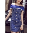 Women's Off the Shoulder Patchwork Button Down Blue Striped Zip Back Mini Shift Dress