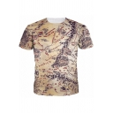 Summer Men's Unique Map Of Middle Earth Printed Round Neck Short Sleeve Khaki Tee