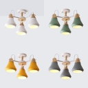 Macaron Color Circle Pendant Lighting 3 Lights Modern Metal Chandelier for Kitchen Hallway