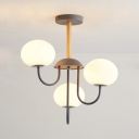 Frosted Glass Globe Ceiling Light 3 Lights Modern Up/Down Lighting Chandelier for Bathroom