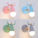 Metal Antlers Wall Light 1 Light Cute Rotatable Sconce Light in Macaron Pink/Blue/Green/Gray for Kindergarten