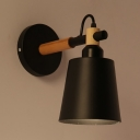Contemporary Pail Wall Light 1 Light Metal Sconce Light in White/Black for Dining Room Bar