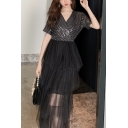 New Stylish V-Neck Short Sleeve Sequined Layered Mesh Patch Plain Midi T-Shirt Black Dress