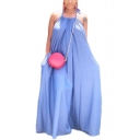 Basic Simple Plain Halter Neck Sleeveless Backless Midi Slip Dress for Women