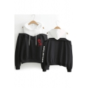 Floral Letter People Are Poison Rose Fashion Cold Shoulder Long Sleeve Pullover Hoodie
