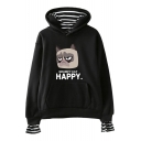 Cute Grumpy Cat HAPPY Letter Printed Striped Inside Long Sleeve Fake Two-Piece Hoodie