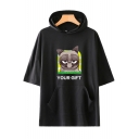 Stylish Cartoon Grumpy Cat Letter YOUR GIFT Short Sleeve Hooded T-Shirt