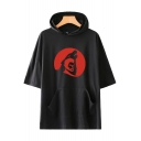 Guys Summer Loose Casual Short Sleeve Teen Wolf Printed Hooded T-Shirt