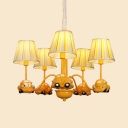 Creative Yellow Pendant Light with Cartoon Car Tapered Shade 5 Lights Metal Chandelier for Study Room