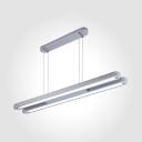 Eye-Caring Linear Suspension Light Modern Aluminum Black/Silver LED Hanging Light with White Lighting for Shop