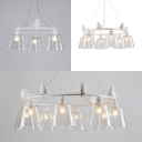 Clear Glass Tapered Shade Chandelier 3/6/8 Lights American Rustic Pendant Light with Bird in White for Balcony
