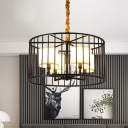Fabric Drum Pendant Lamp with Cage 4 Lights American Rustic Chandelier in Black for Restaurant