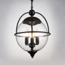 Traditional Black Pendant Light with Globe Shade Candle 3 Lights Metal Chandelier for Villa