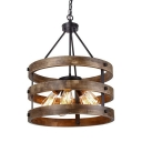 Wood Drum Shade Chandelier 5 Lights Country Style Suspension Light in Brown for Bar Restaurant