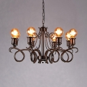 Living Room Open Bulb Chandelier Metal 8 Lights Vintage Style Rust Hanging Light
