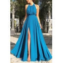 New Stylish Halter Neck Sleeveless Plain Backless Split Hem Floor Length Swing Blue Dress For Women