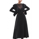 Women's Fashion Sexy Round Neck Long Sleeve Plain Ruffle Hem Mesh Patch Midi Black A-Line Dress