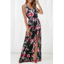 Fashion Sexy V-Neck Sleeveless Floral Printed Bow-Tied Waist Split Hem Floor Length Tank Dress