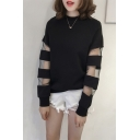 Girls Plain Sheer Mesh Striped Patched Round Neck Long Sleeve Pullover Sweatshirt
