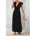 Women's Stylish V-Neck Cap Sleeve Polka Dot Printed Bow-Tied Waist Ruffle Hem Maxi Empire Waist A-Line Dress