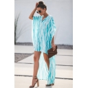Hot Fashion Lapel Collar Batwing Sleeve Tie-dye Printed Asymmetric Hem Maxi Loose Dress