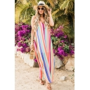 Summer Spaghetti Straps Sleeveless Stripes Printed Maxi Slip Red Dress For Women