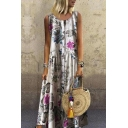 Women's New Trendy Floral Printed Scoop Neck Sleeveless Button-Front Maxi Boho Tank Dress