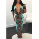 Women's Sexy Plunge Neck Half Sleeve Tribal Printed Bodycon Maxi Nightclub Blue Dress