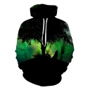 Fashion Polar Lights Wolf 3D Printed Long Sleeve Black Unisex Hoodie