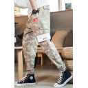 Mens Fashion Drawstring Waist Camo Printed Multi-Pocket Elastic Cuff Cotton Casual Cargo Pants