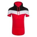 Mens Fashion Classic Colorblock Short Sleeve Slim Fit Drawstring Hooded T-Shirt