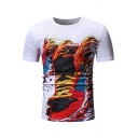 Cool Funny Colorful Ink Painting Round Neck Short Sleeve Basic Slim T-Shirt